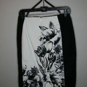 White House Black Market black and white skirt